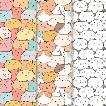 Set of cute cats pattern background.