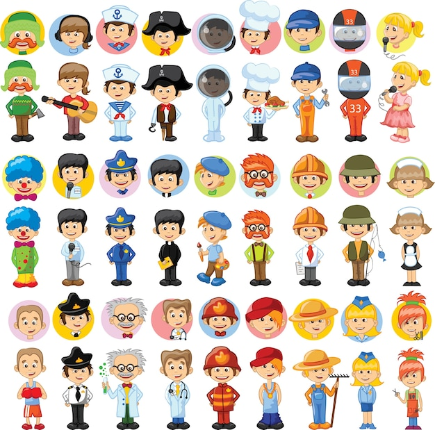 Set of cute character avatar icons of different professions in cartoon style