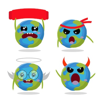 Set of cute character earth  illustration