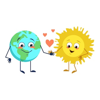 Set of cute character of planet earth and sun with different emotions face arms and legs funny or sa...
