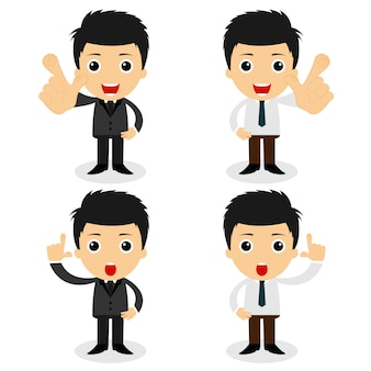 Set of cute characters businessman and office worker poses in various