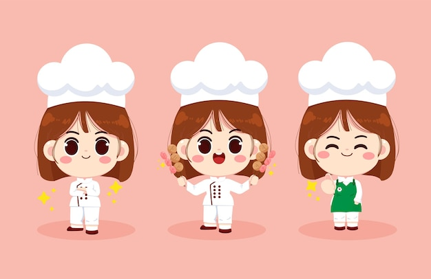 Set of cute chef girl smiling in uniform preparing food and holding meatball and hotdog cartoon art illustration