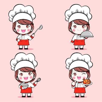 Set of cute chef girl