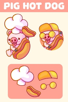 Set of cute chef pig with hot dog mascot logo with optional appearance.