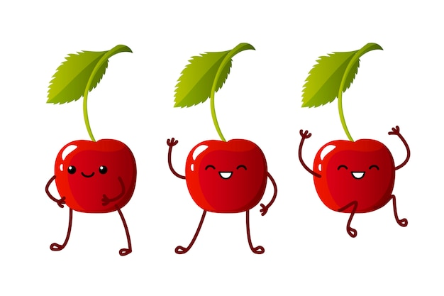 Set cute cherry characters. kawaii berry  characters isolated