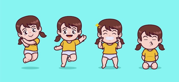 Set of cute chibi girl