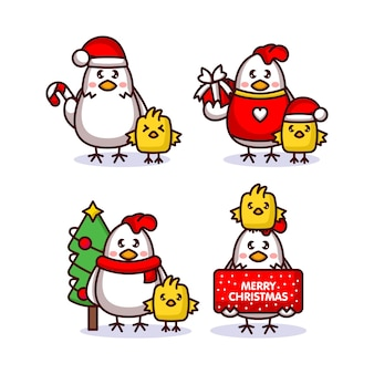Set of cute chick and hen with christmas costume