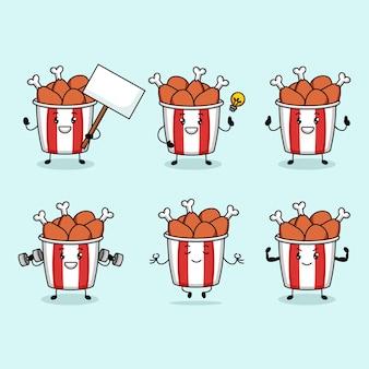 Set of cute chicken bucket mascot design