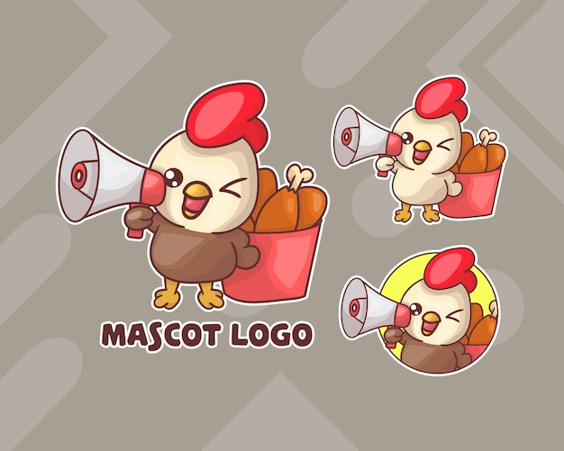 Set of cute chicken bucket mascot logo with optional appearance.