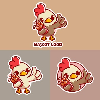 Set of cute chicken bucket mascot logo with optional apprearance.