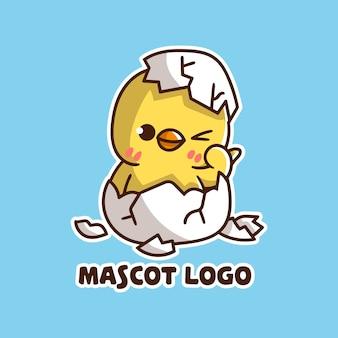 Set of cute chicken egg mascot logo