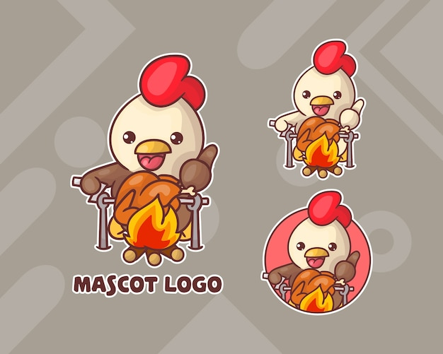 Set of cute chicken mascot logo with optional appearance.