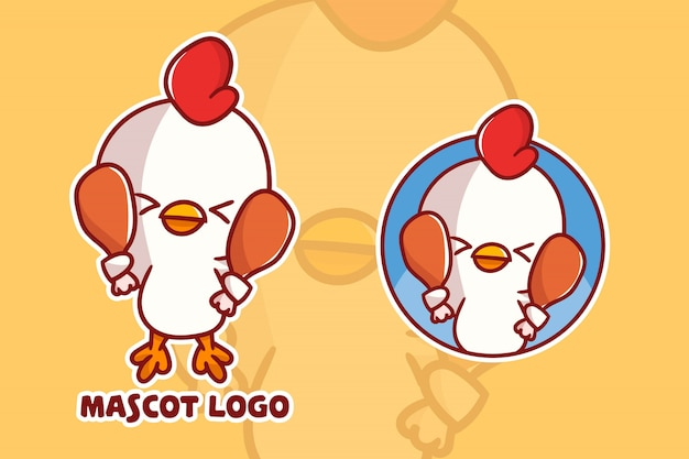 Set of cute chicken mascot logo