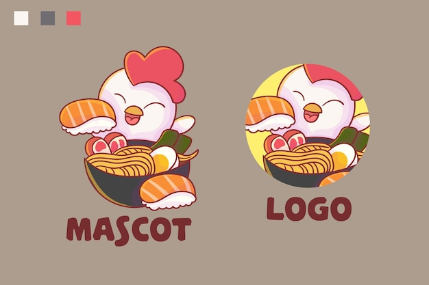 Set of cute chicken ramen and sushi mascot logo with optional appearance.
