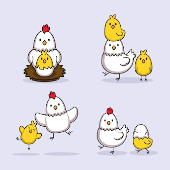 Set of cute chicks and hen chicken