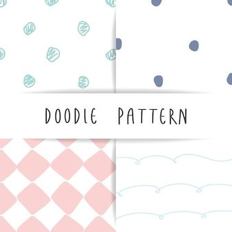 Set of cute childish hand drawing pattern background