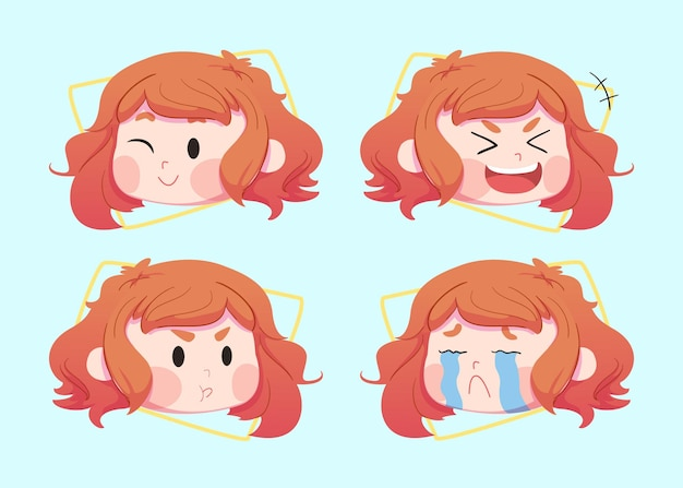 Set cute children character in different facial expressions