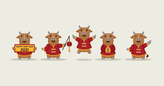 Set of cute chinese oxes