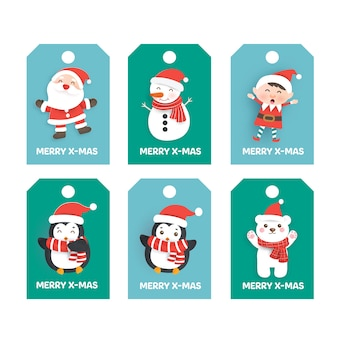 Set of cute chistmas tags.