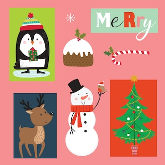 Set of cute christmas character and ornament