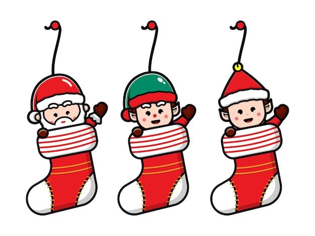 Set cute christmas character in socks cartoon vector christmas concept illustration