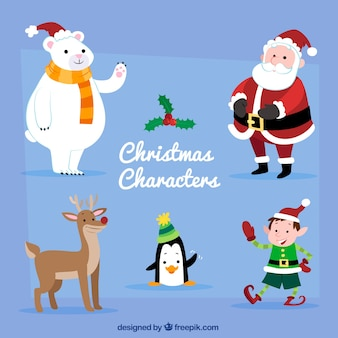 Set of cute christmas characters with santa claus