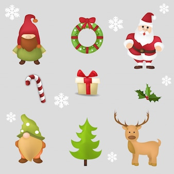 Set of cute christmas characters