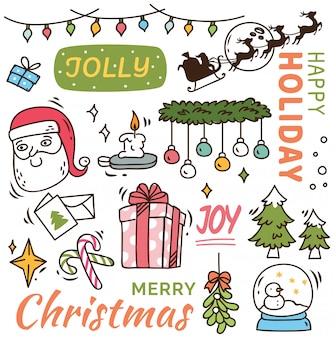 Set of cute christmas doodle background