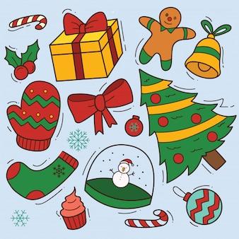 Set of cute christmas doodle