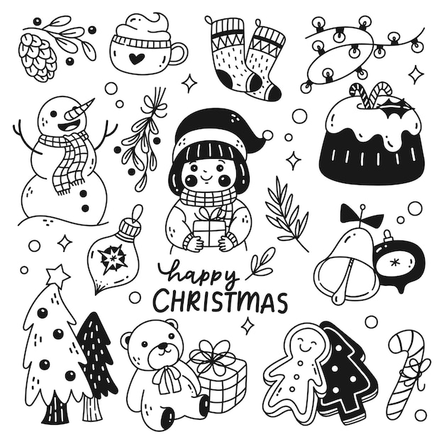 Set of cute christmas doodles isolated on white background