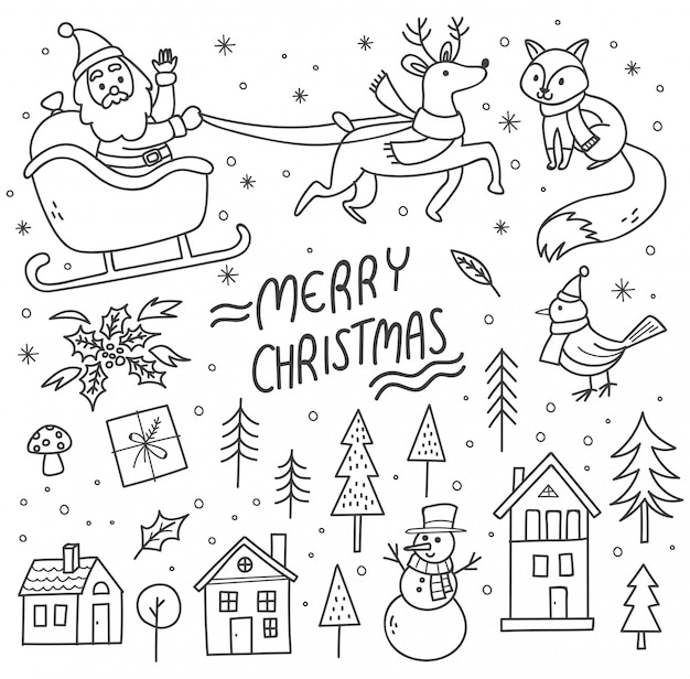 Set of cute christmas doodles