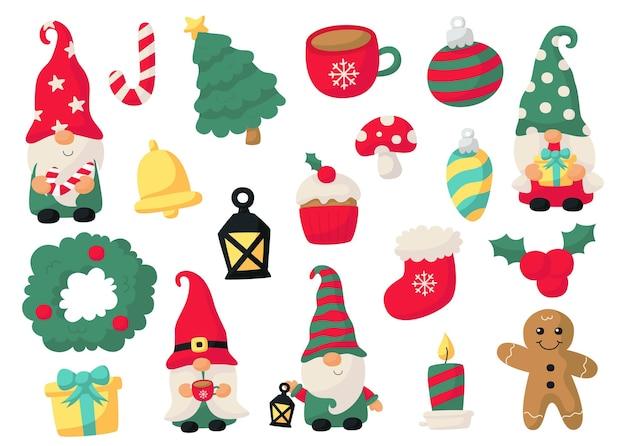 Установите милые рождественские гномы, изолированные на белом фоне