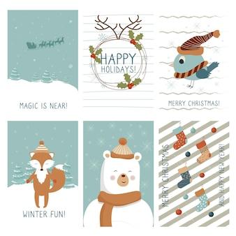 異なる構成でスカンジナビアスタイルのかわいいクリスマスグリーティングカードを設定します