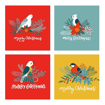 Set of cute christmas greeting cards. postcards and prints with different birds on fir tree branches.