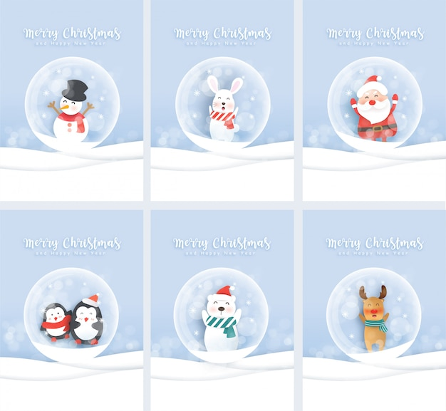 Set of cute christmas greeting cards with santa and cute animals in paper cut and craft style.