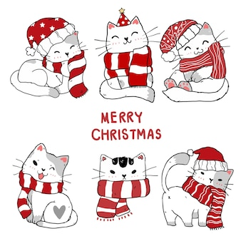 Set of cute christmas kitten cat hand drawing clip art collection