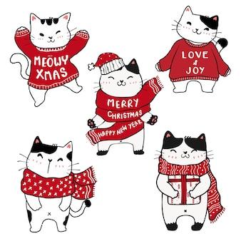 Set of cute christmas kitten cat hand drawing