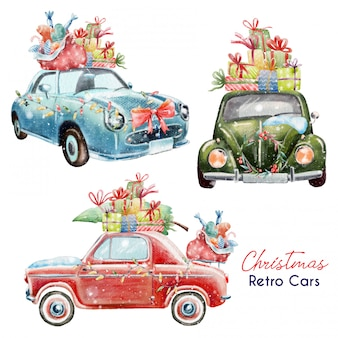Set of cute christmas retro cars
