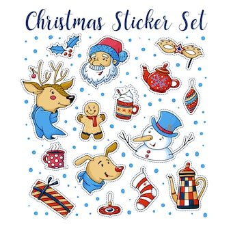 Set of cute christmas stickers with santa