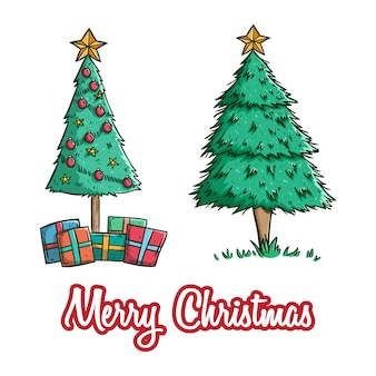 Set of cute christmas tree with star and gift box using colored doodle style