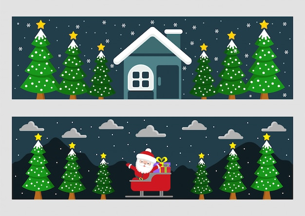 Set  cute christmas with santa claus and house