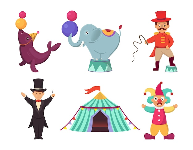 Set of cute circus carnival character mascot design illustration