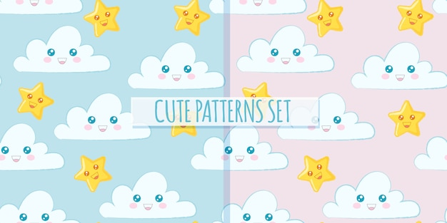 Set of cute clouds patterns