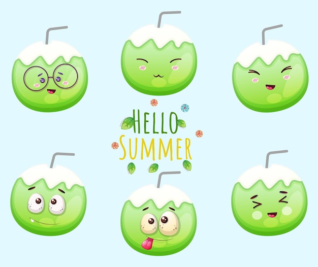 Set of cute coconut and hello summer greeting card