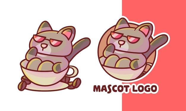 Set of cute coffee cat mascot logo with optional appearance, kawaii style