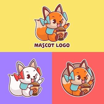 Set of cute coffee fox mascot logo with optional apprearance.