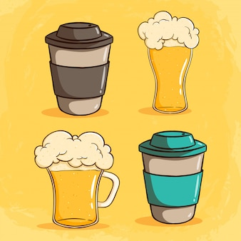 Set of cute coffee paper cup with beer by using colored doodle style