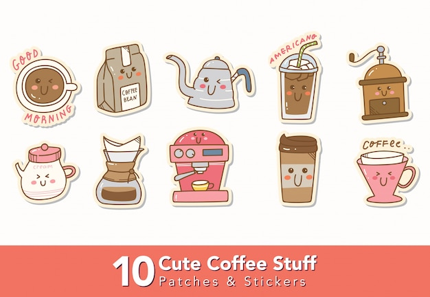 Set of cute coffee stuff stickers