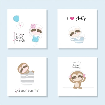 Set cute collection cute animal illustration for kids
