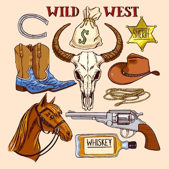Set of cute coloful cowboy accessories.